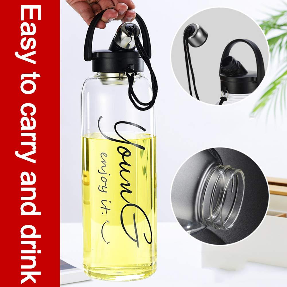 Sunkey Grande Botella Agua Cristal 1,5//2 litros Deportiva de Claro Borosilicato Vidrio sin Bpa Port/átil Reutilizable y Durable