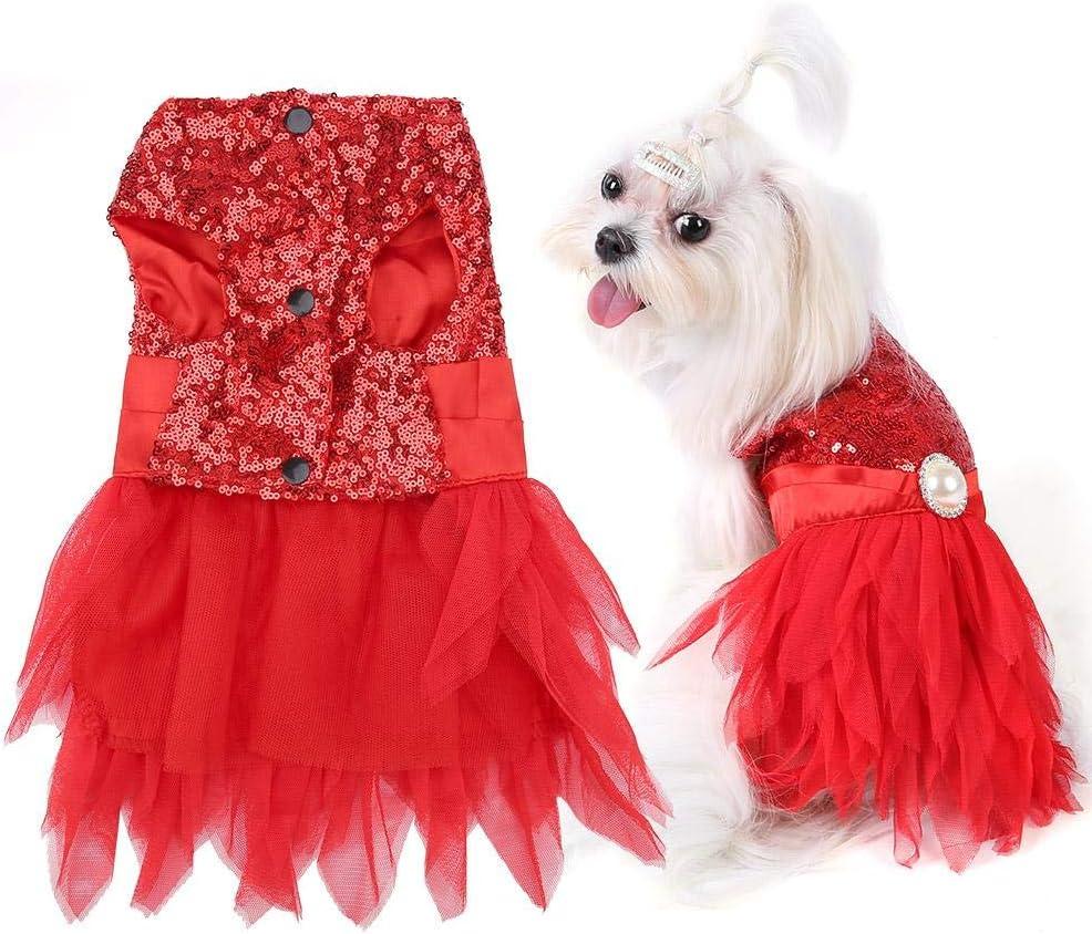 L-Rouge V/êtements pour Animaux Mignons Robe de mari/ée pour Chien Robe pour Chien pour Chien Robe pour Chiot Princesse Jupe Tutu Chihuahua Teddy Partie V/êtements Costume pour Petits Chiens Chats
