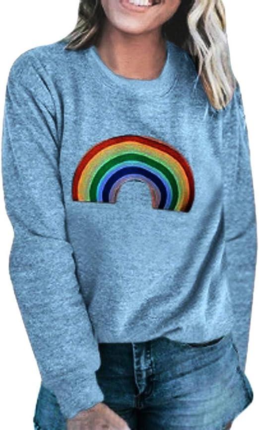 Womens Pullover Crop Top Sweatshirt Rainbow Stripes Long Sleeve T Shirts Drop Shoulder Tee Loose Fit Ladies Casual Active Blouse