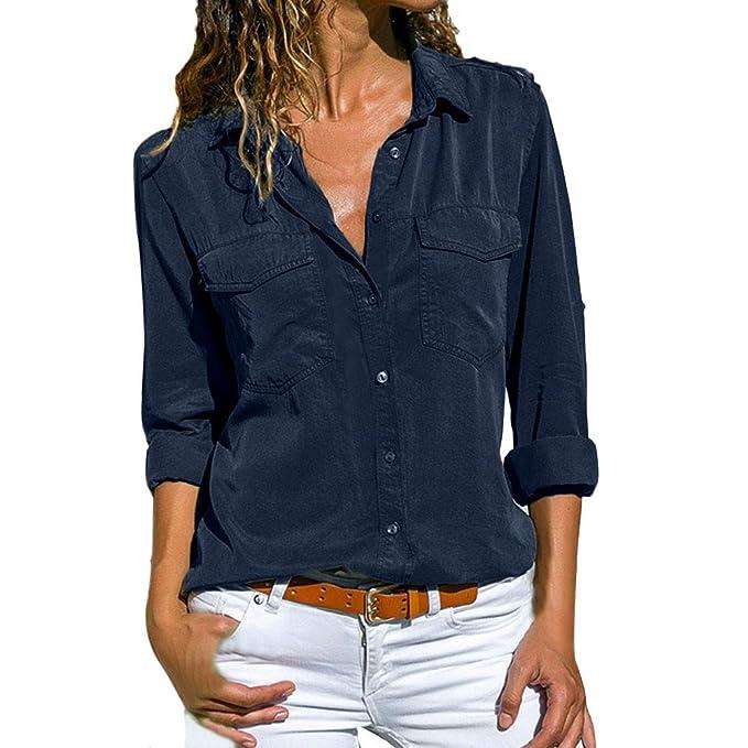 Rovinci☆Blusa para Mujer Color sólido Casual Manga Larga Bolsos con Cuello bajados Botón Frontal con Camiseta Tops: Amazon.es: Ropa y accesorios