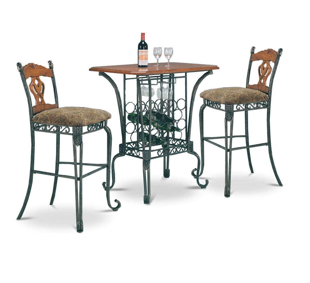 Amazon.com: 3 Piece Bar Table Set With Wine Rack Base   Bar Table And 2 Bar  Chairs: Kitchen U0026 Dining