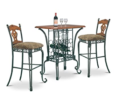 Amazon Com 3 Piece Bar Table Set With Wine Rack Base Bar Table