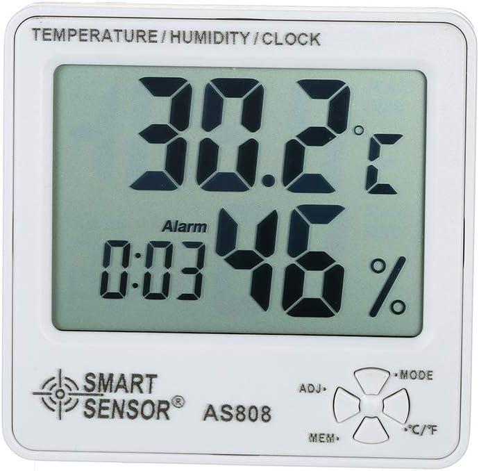 Roeam Termómetro Higrómetro Reloj Calendario Despertador Digital Interior Inalambrico Pared,SMART SENSOR Medidor de Humedad Temperatura Tiempo Fecha Grande LCD Pantalla °C/°F