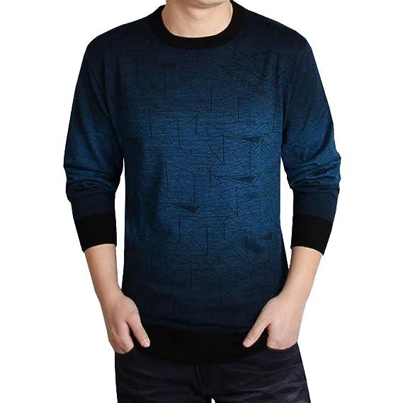 Moda Hombre Impreso Casual Manga Larga Camisas Delgadas Tops Blusa de Internet