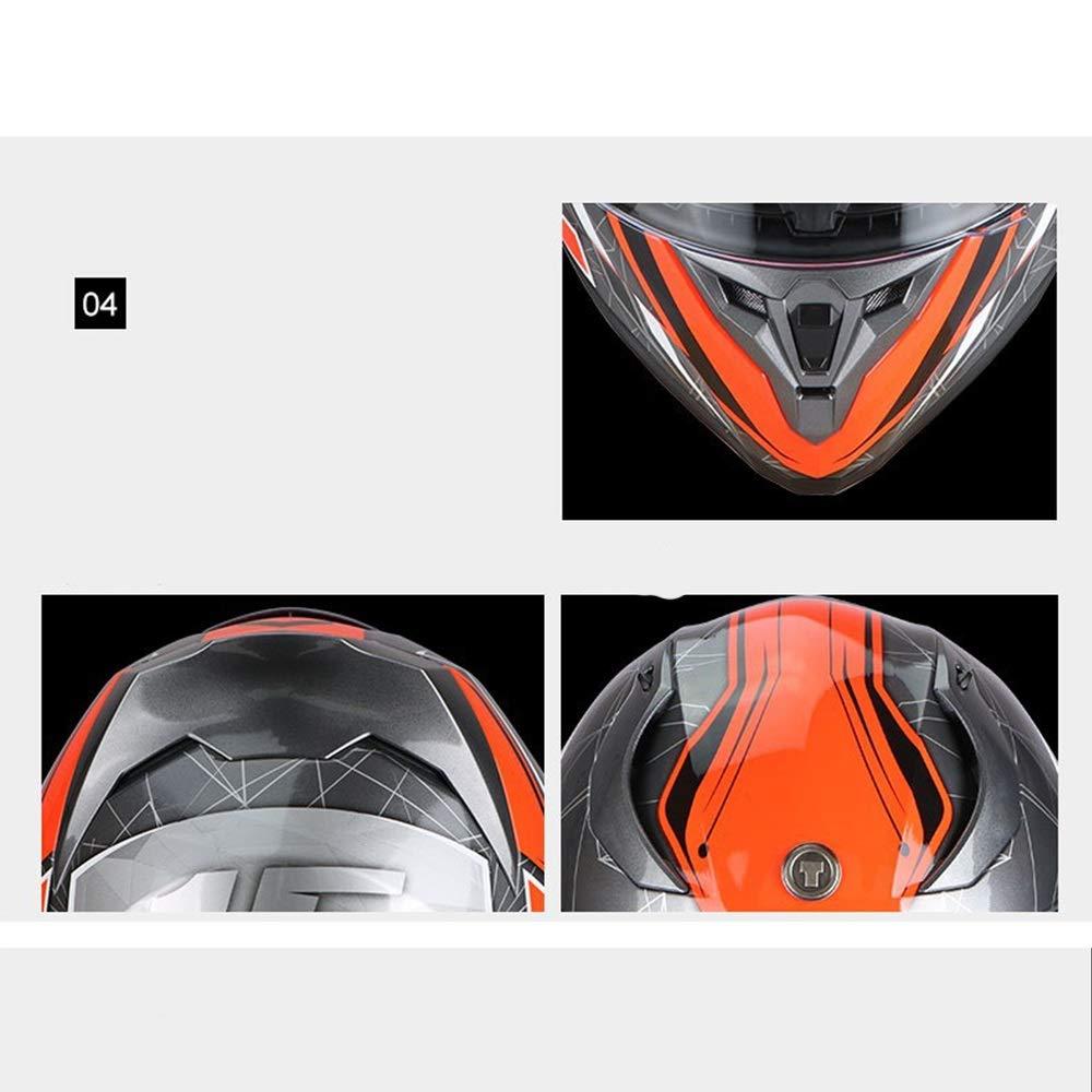 Size : M KUVV Perfecto Motorradhelm Herren und Damen Winter warm Anti-Fog Double Lens Integralhelm Motorradhelm Four Seasons Universal Sommerhelm gro/ß gr/ün
