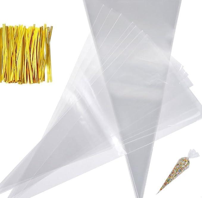 Paquete de 100 bolsas de cono transparentes, con 100 lazos ...