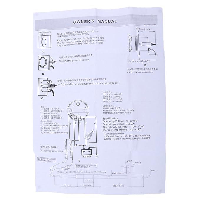 IPOTCH Medidor Indicador Temperatura de Gas de Escape Modificaci/ón Reparaci/ón de Barco # 3