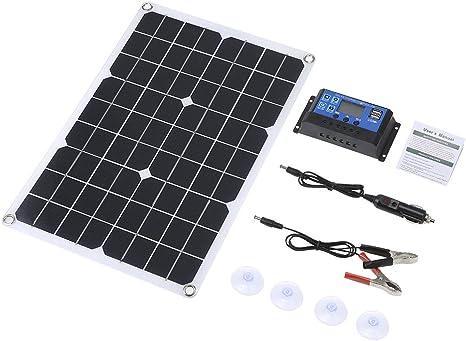 Galapara Kit de Panel Solar Flexible policristalino de Doble Salida con 2 Puertos USB DC 5V / 18V y Carga para automóvil Controlador de Carga Solar ...