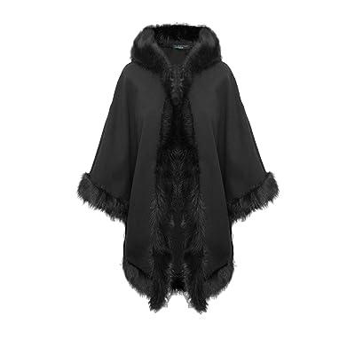 Éditeurs de Top NEUF pour femme en fausse fourrure à capuche italien Cardigan Wrap Écharpe chaude Châle Poncho Robe