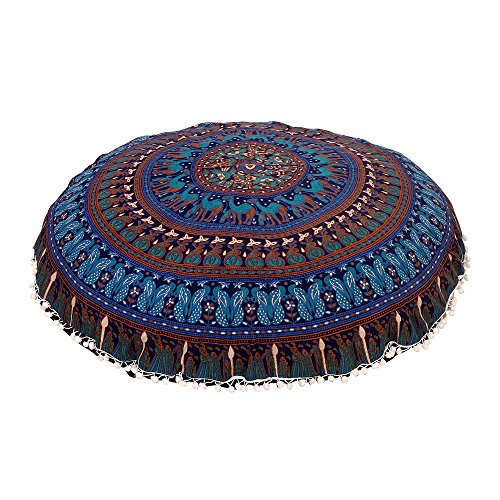 """Shubhlaxmifashion Large 32"""" Round Pillow Cover, Decorative Mandala Pillow Sham, Indian Bohemian Ottoman Poufs, Pom Pom Pillow Cases, Outdoor Cushion Cover"""