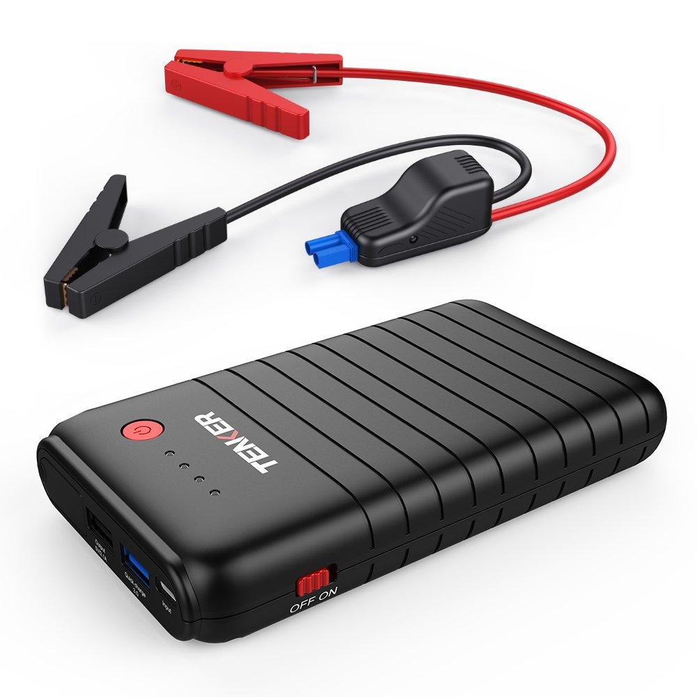 TENKER 500A 10800mAh Tragbare Auto Starthilfe Autobatterie Anlasser, Externer Akku Ladegerä t mit Dual USB Ausgä nge (Ein QC3.0 und Ein 5V/2.1A), Typ C Anschluss und LED Taschenlampe