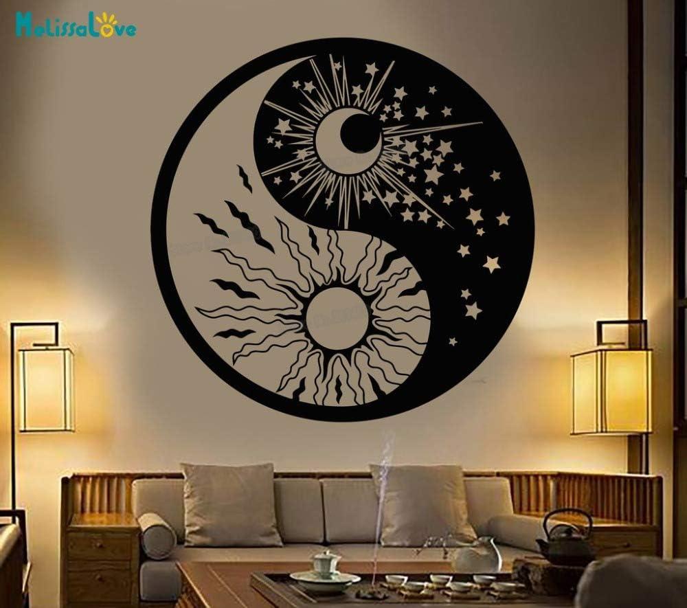 Vinilo Tatuajes de Pared Yin Yang Símbolo Sol Luna Budismo ...