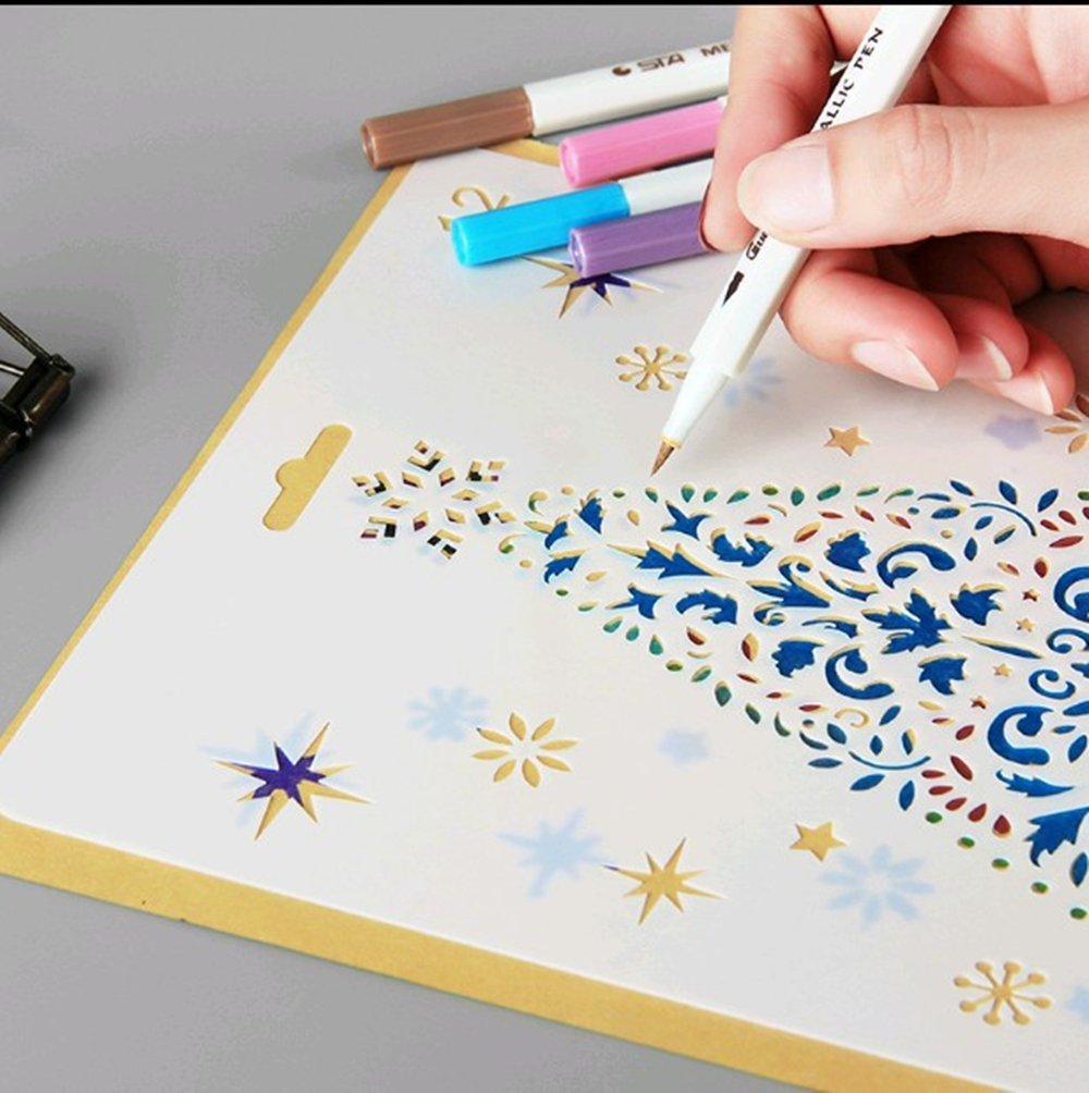 Lirener 12 piezas plantillas de la fiesta de Navidad plástico dibujo ...