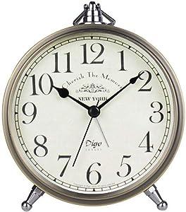 Maxspace Golden Desk Clock, Retro Vintage Non-Ticking Battery Operated Small Alarm Clock, Quartz Movement HD Glass Metal Silent Table Clock for Bedroom Living Room Indoor Decoration Kids (Arabic)