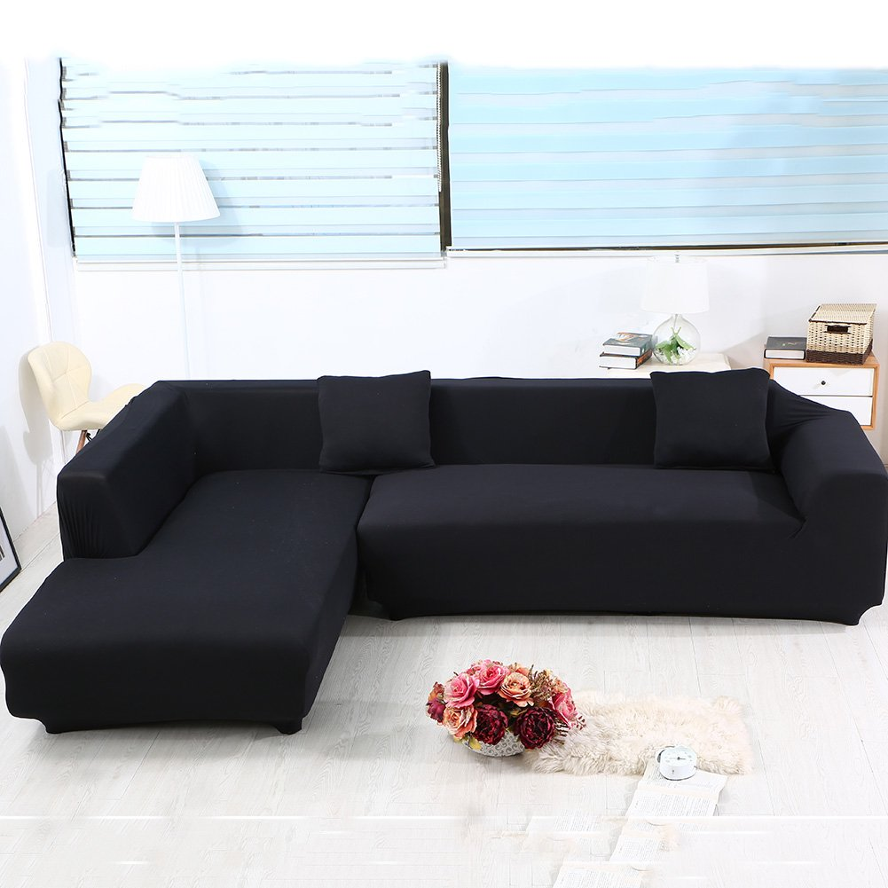 Universal Sofa Covers for L Shape 2pcs Polyester Fabric Stretch Slipcovers + 2pcs Pillow Covers : slipcovers for sectional couch - Sectionals, Sofas & Couches
