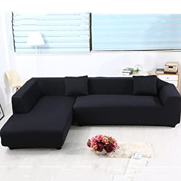 Universal Sofa Covers For L Shape, 2pcs Polyester Fabric Stretch Slipcovers  + 2pcs Pillow Covers