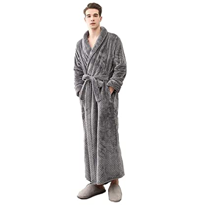 4a67d15225 BCL-Pajamas Mens Dressing Gown Full Length Bathrobe Cotton Towelling Bath  Robe Lightweight (Color   GRAY