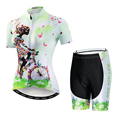 f2d161e7c Women s Cycling Jersey Set Bicycle Short Sleeve Set Breathable Shirt+3D  Padded Shorts Bicycle Green