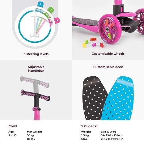 Yvolution y Glider XL patinete de niños - 100890, Rosado ...