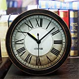 Usany 5 inch Black Alarm Clock Vintage Wood Pattern Analog Table Clock Roman numerals Silent Non-ticking Quartz Travel Clock Round Desk Clocks 3D Clock Christmas gift