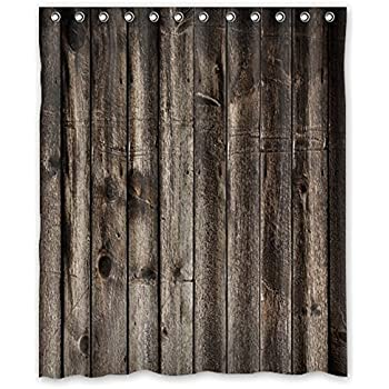 Shower Curtain WelcomeWaterproof Decorative Rustic Old Barn Wood Art 60x72