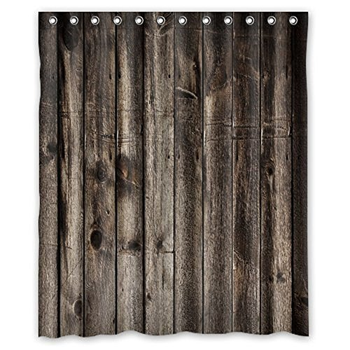 Welcome!Waterproof Decorative Rustic Old Barn Wood Art Shower Curtain 60''x72''-6