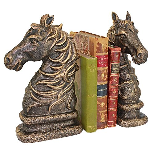 Design Toscano SP2925 Americana Stallion Silhouette Horse Cast Iron Sculptural Bookend Pair Iron Horse Bookends