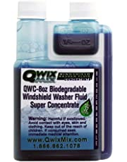 Qwix Mix Biodegradable Windshield Washer Fluid Concentrate, 1 Bottle Makes 32 Gallons, 1/4 oz. Makes 1 Gallon - Bug & Grime Remover, Superior Commercial Grade Glass Cleaner, Single