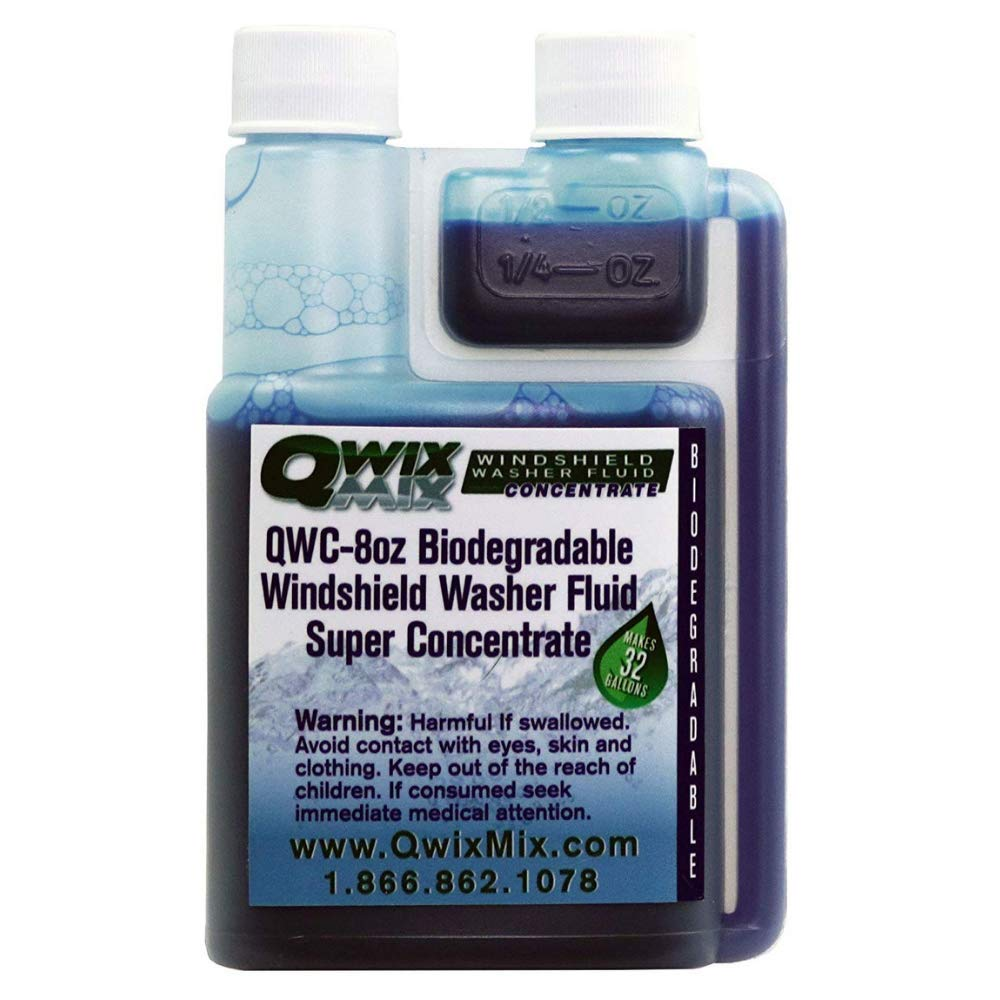 Qwix Mix Biodegradable Windshield Washer Fluid Concentrate, 1/4 oz. Makes 1 Gallon - 1 Bottle Makes 32 Gallons - Bug & Grime Cleaner, Superior Commercial Grade Glass Cleaner, Single