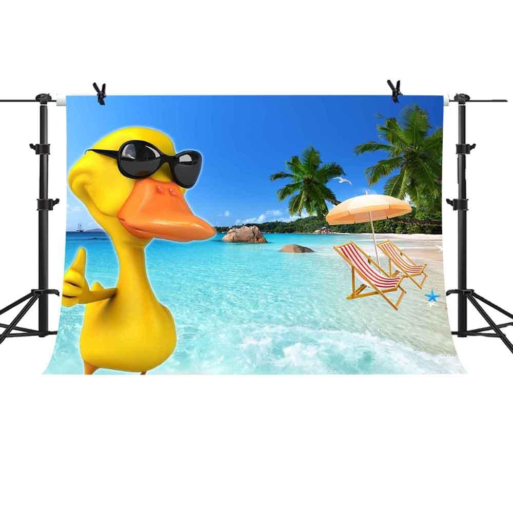 Mme 7 x 5ft Blue Ocean背景ビーチイエローDuck写真ビデオスタジオ小道具バックドロップlqme015   B07D56VY5J