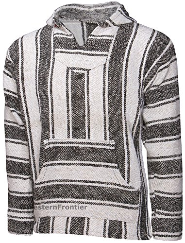 - El Paso Designs Mexican Style Baja Hoodie (X-Large, White/Gray)