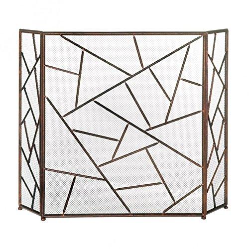 Decorative Fireplace Screens, Three Panel Modern Iron Screen for Fireplace Brass Contemporary Fireplace Screen