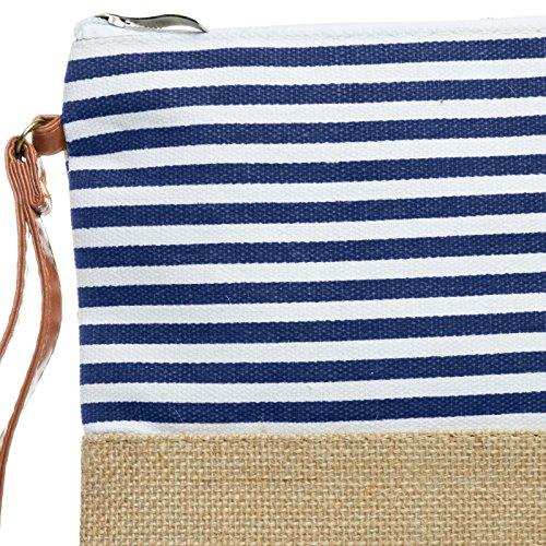 de CASPAR en Pochette avec rayures Sac d'été jute pour Bleu toile femme TS355 8rqw8Y