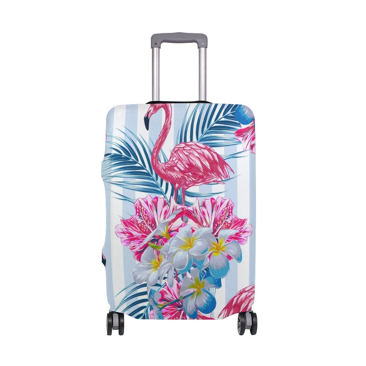 Vintage Summer Tropical Flamingo Striped Suitcase Luggage Cover Protector for Travel Kids Men Women