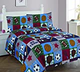 Elegant Home Patchwork Blue Green Red White Brown Sport Basketball Football Baseball Soccer 4 Piece Printed Full Size Sheet Set with Pillowcases Flat Fitted Sheet for Boys / Kids/ Teens # Rugby (Full)