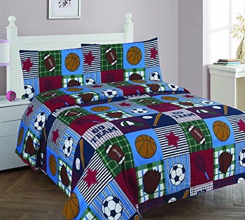 Elegant Home Patchwork Blue Green Red White Brown Sport Basketball Football Baseball Soccer 4 Piece Printed Full Size Sheet Set with Pillowcases Flat Fitted Sheet for Boys / Kids/ Teens - Sheets Bed Bedding Football Set
