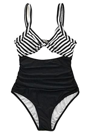 c5a94468cb CUPSHE Women s Black White Ruched One-Piece Swimsuit Beach Swimwear Small