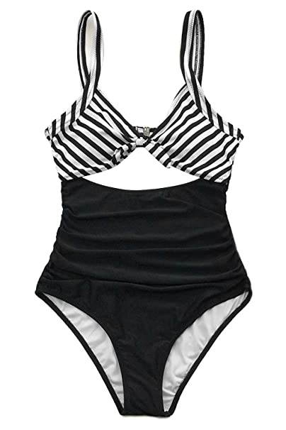 1e043eae0f CUPSHE Women's Black White Ruched One-Piece Swimsuit Beach Swimwear Small