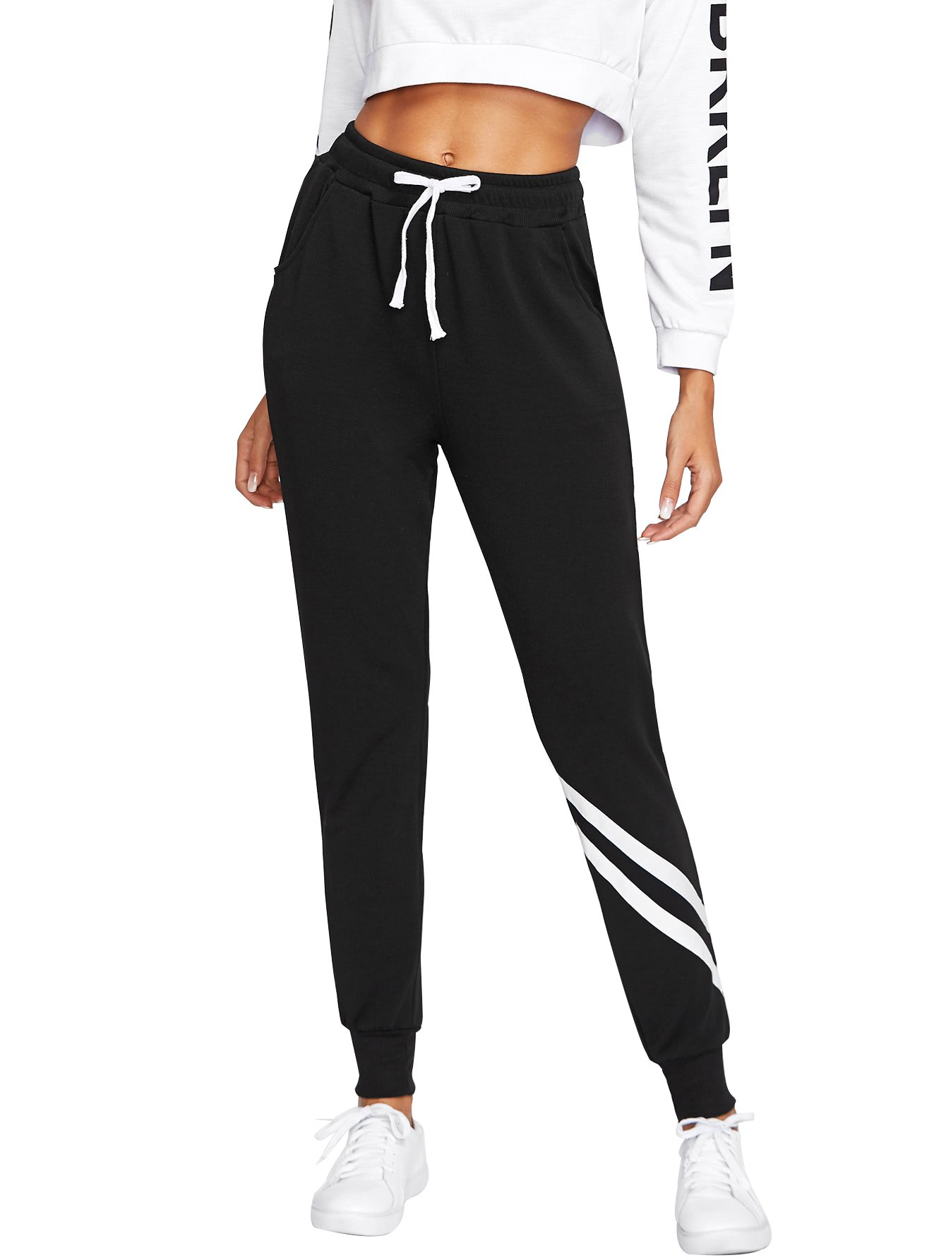 SweatyRocks Women Pants Color block Casual Tie Waist Yoga Jogger Pants Black S