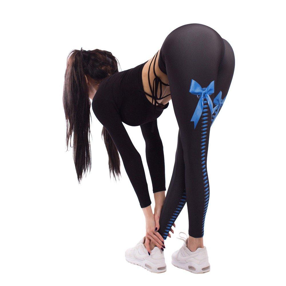 Leggings for Women Pants, Womens Yoga Pants Workout Running Leggings Fitness Yoga Athletic Pants Bow Print Trouser Blue