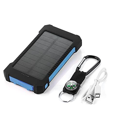 iMeshbeanPortable Dual USB Solar Battery Charger Power Bank 30000mAhPhone Charger with Carabiner LED Lights for Emergency Cell Phones Tablet Camera Black