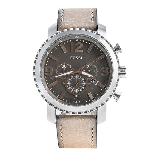 d7e77547faea Reloj de pulsera hombre bq2136 Fossil Beige Piel Cronógrafo  Amazon.es   Relojes