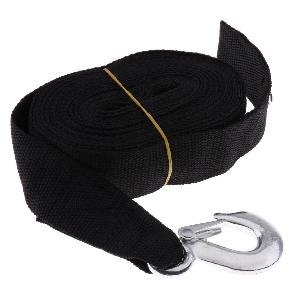 Baoblaze Black Winch Trailer Replacement Strap with Heavy Duty Hook for Boats