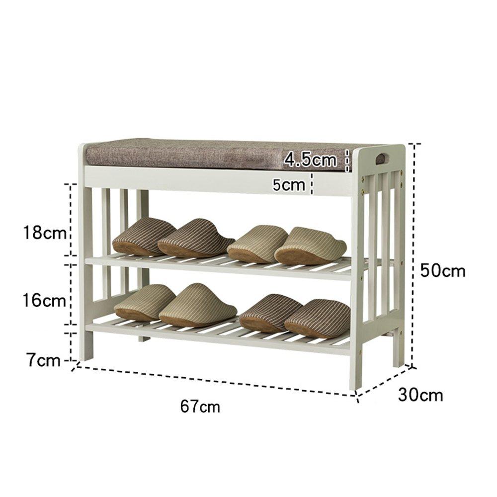 YNN 竹の靴のベンチ靴のラック2段ベッドクッションのストレージベンチ廊下のエントリーウェイの白 (サイズ さいず : 67*30*50cm) B07DWNTZ6W67*30*50cm