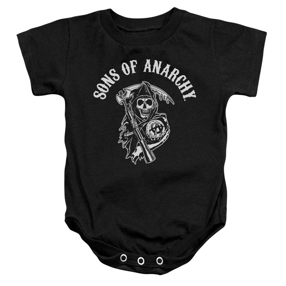 Sons Of Anarchy TV Series SOA Reaper Logo White On Black Baby Romper Snapsuit Trevco
