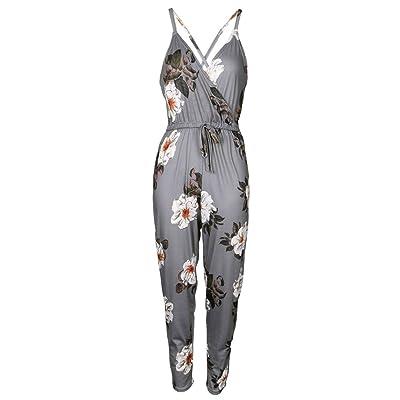 Culater® Femmes Jolies sans manches Floral Impression Partie Combinaison Rayée Pantalon de plage