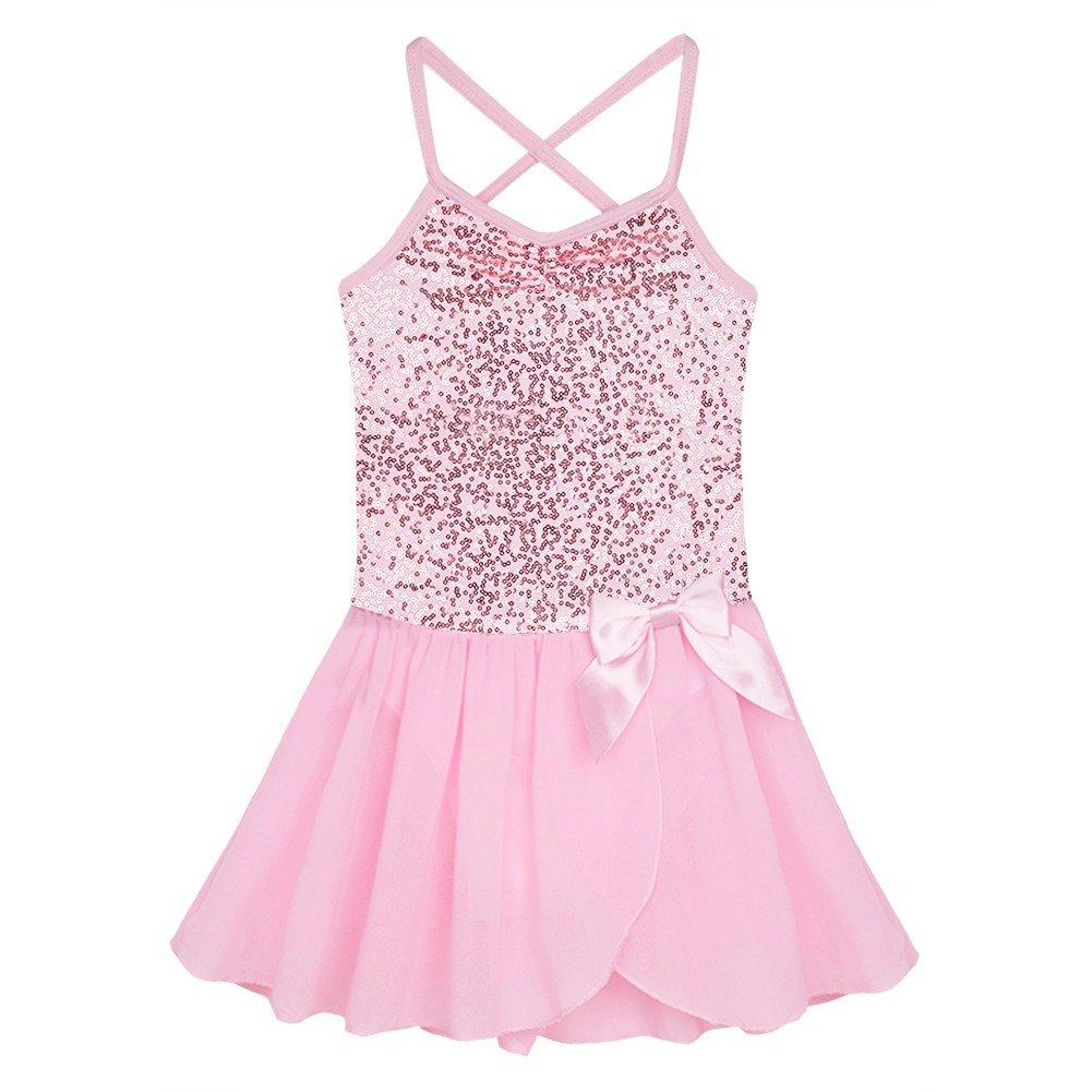 TiaoBug Girls Sequined Camisole Ballet Dance Tutu Dress Sweetheart Leotard Pink 5-6 by TiaoBug