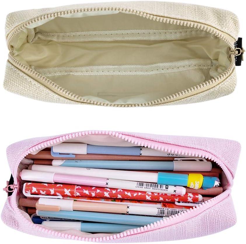 iSuperb Estuche Escolar Pequeña Bolsa Pencil Case para Lapices Estudiante Plumier Colegio Pen Pencil Holder Lápiz Bolsa de Lona (Rosa + beige): Amazon.es: Oficina y papelería
