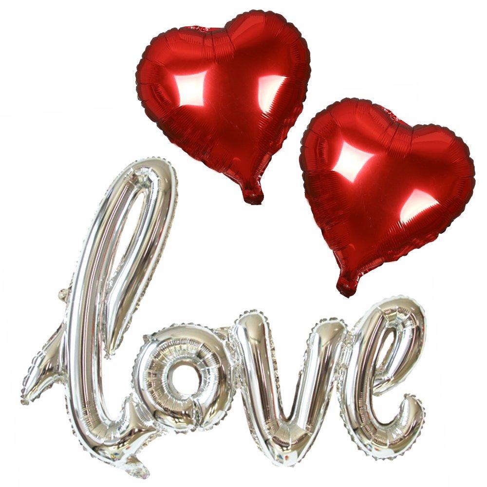 SMARCY Palloncini Love (Argento) + Cuore (Rosso)