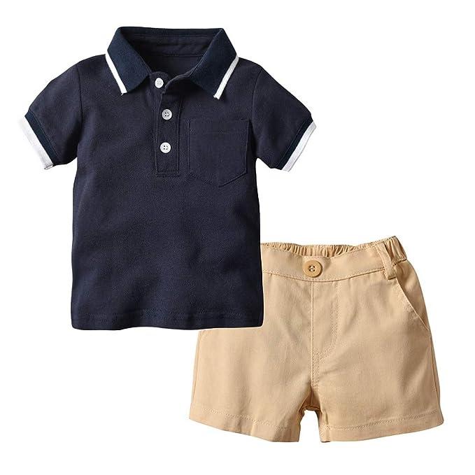 7b3981548b92 BOBORA Baby Boys Summer Clothes Short Sleeved Plain Polo Shirts with Elastic  Shorts Pants Outfits Set for 0-5Y  Amazon.co.uk  Clothing